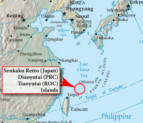 Disputed Senkaku / Diaoyu Islands. Image via Wikipedia.